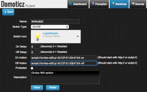 Domoticz configure WiWo Switch